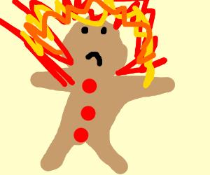 polite burned gingerbread man