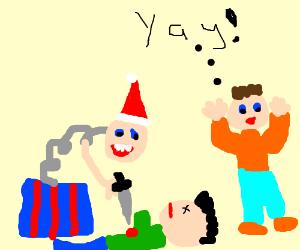 Jack-in-box-Xmas kills parent. Kid Happy!