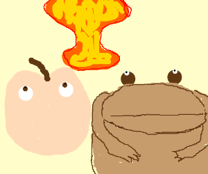 Literal peach and toad observe mushroom cloud