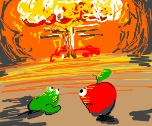 Apple head and frog watch explosion
