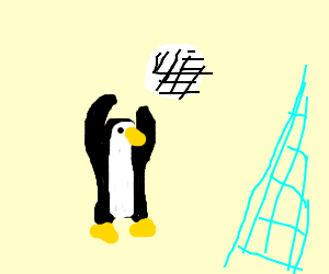 Penguin playing volleyball