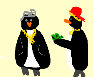 Swag penguins! Elvis hair and chain >.<