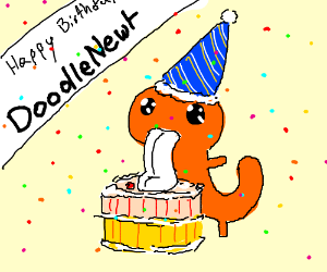 Happy Birthday DoodleNewt (Banner w/ Confetti)