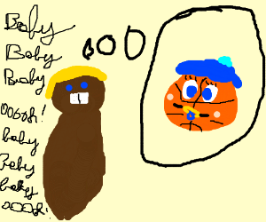 Justin beaver thinking of a baby basketball.