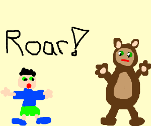Midget roars loudly at a bored-looking bear