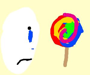 Man cries cos lollipop has more color than him