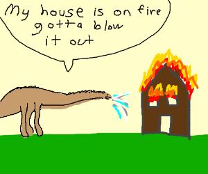 blue diplodocus blows on hot coals