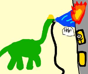 Brontosaurus fire fighter
