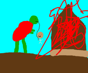 Fireman dinosaur helps a man in fire