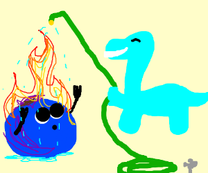 Blueberry onfire. Seeks help from smily dino.