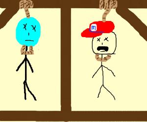 Cyan Head greets Mario. Both are hung.