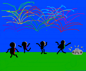fireworks and music