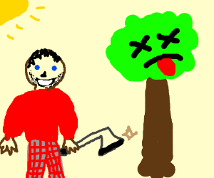 lumberjack in red jumper smiles as tree dies