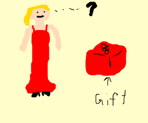 Girl in red dress does not know what gift is.