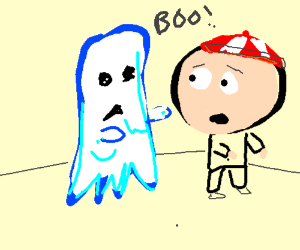 young boy with big head pressured by ghost