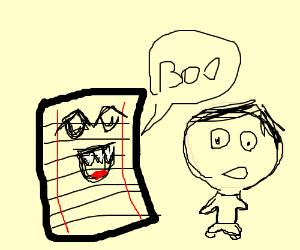 Living sheet scares big headed child