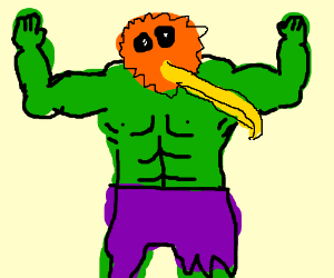 Hulk with yellow doduo head