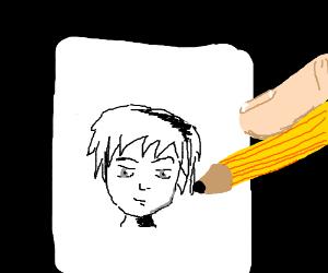 Frenchie paints a self portrait