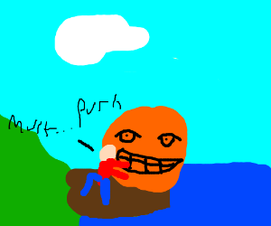 A man pushing a giant orange into the ocean.