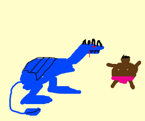 Blue dargon about to eat a fat person.
