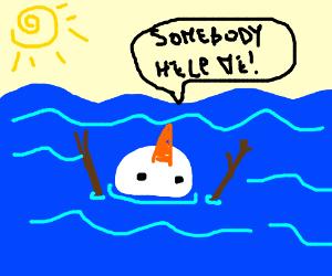 drowning snowman