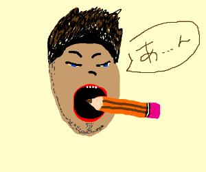 man eats a pencil