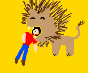 lion eats typical red shirt blue pants guy