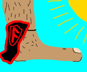 black with red cape on a big human foot,sunny