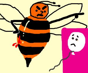 Giant bleeding bee had enough of white balloon