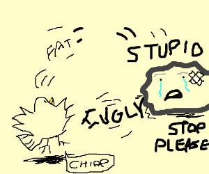 Bird hurls insults at a sad injured rock.