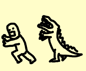 Man being chased by a crocodile