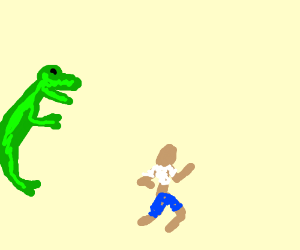 Man runs away from approaching dinosaur