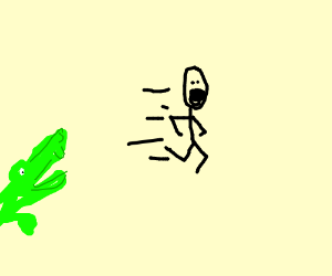 Stick figure running away