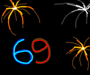 Red and Blue 69 with fireworks.