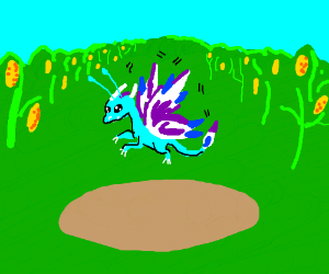 Faerie dragon in a corn field