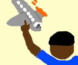 blue shirt guy points at incoming airplane