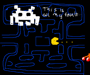 Pac-Man eats all; Space Invader blames itself.