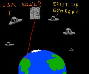 Fleet of alien ships attack the Earth.