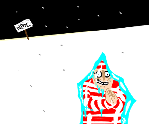 Waldo hides TOO well, freezes to death.