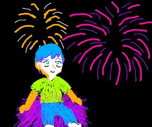 Fireworks + guy sitting on purple haystack
