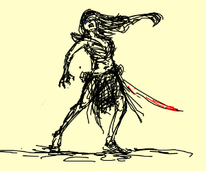Barbarian shriek holding a sword