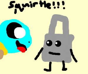 Squirtle is happy to see baggage trolley robot