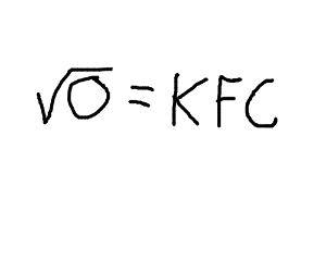 Is sq root of 0 = county map, or KFC?
