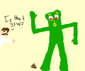 Is this SFW? Green guy dancing next to a turd.