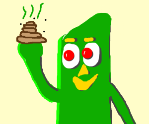 Gumby has poo on his hand