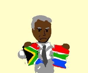 Nelson Mandela has shredded the SA flag!