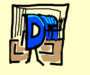 Drawception D in mirror facing other mirror