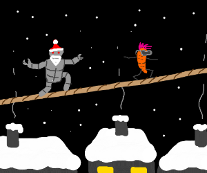 Robot santa walks tightrope after punk&carrot