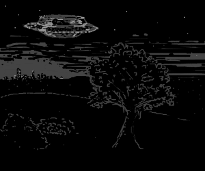 UFOs in the night sky over bushes and tree