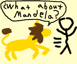 "Lion chases man, says ""What about Mandela?"""